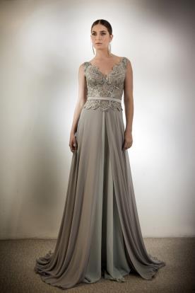 שמלת ערב תחרה ושיפון עם חגורה