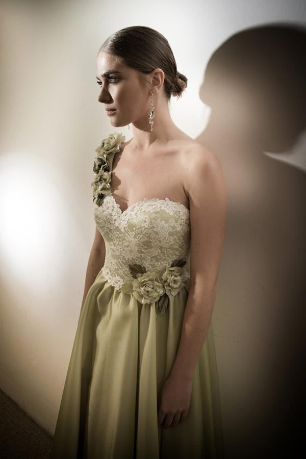 שמלת ערב כתפיה אחת ירוקה