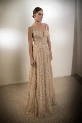 שמלת ערב תחרה עדינה צבע קרם