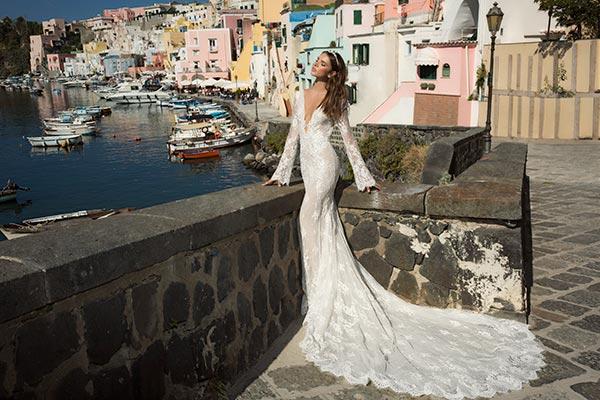 שמלת כלה בוהו שיק מחשוף עמוק