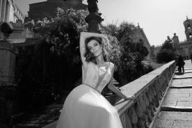 שמלת כלה אפליקציית פייטים קדמית