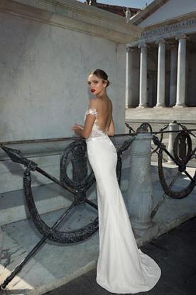שמלת כלה כתפיות פרחוניות שמוטות