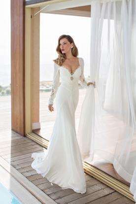 שמלת כלה רומנטית שרוולי שיפון