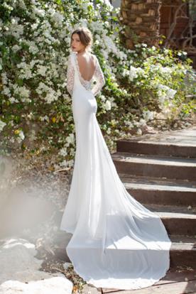 שמלת כלה שרוולי תחרה עגולה