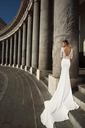 שמלת כלה לבנה עם שובל
