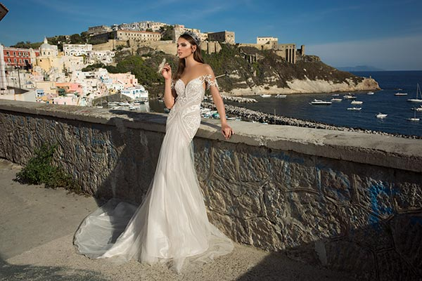 שמלת כלה בת הים טול וסאטן