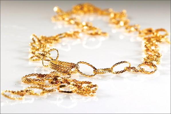 שרשרת זהב צהוב עם לולאות