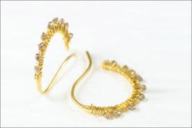 עגילים לכלה זהב צהוב ויהלומים