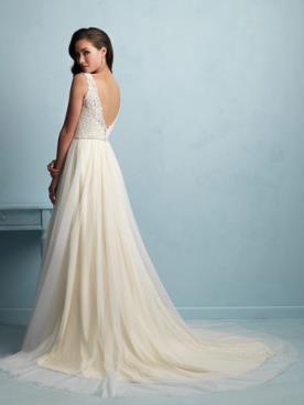 שמלת כלה טול מכווץ וגב חשוף