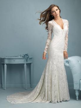 שמלת כלה ארוכה עם מחשוף