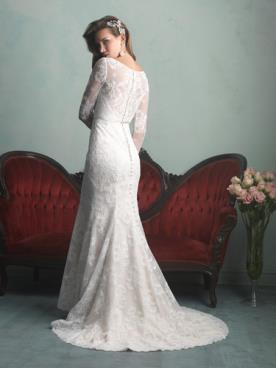 שמלת כלה צנועה שרוולי תחרה