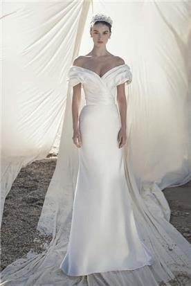 שמלת כלה: קולקציית 2020, שמלה עם כתפיות עבות, שמלה בסגנון רומנטי, שמלה עם תחרה, שמלה עם מחשוף, שמלה עם מחוך, שמלה בצבע לבן - אלון ליבנה