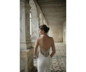 שמלת כלה גב חשוף מעוטר עם כיווצים