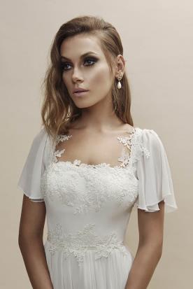 שמלת כלה רומנטית עם שרוולי שיפון