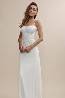 שמלת כלה מבדים מובחרים בשילוב תחרה יפה