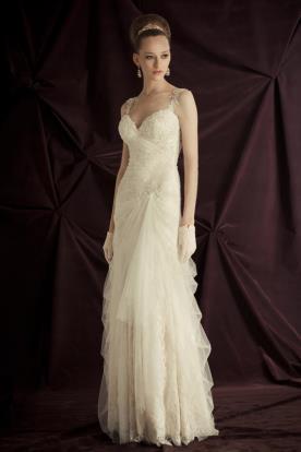 שמלת כלה וינטאג'ית תחרה וחרוזים