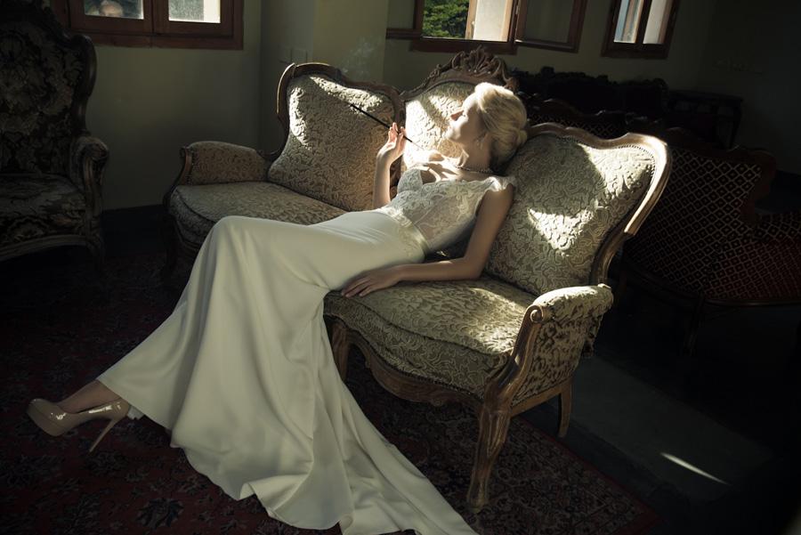 שמלת כלה שובל משי קרם