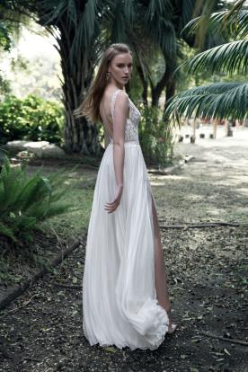 שמלת כלה חצאית משי עם שסע