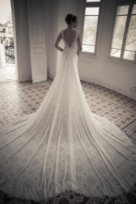 שמלת כלה שובל שיפון ארוך