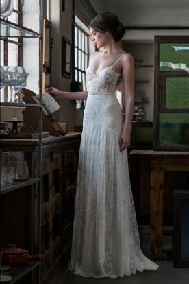 שמלת כלה כפרית תחרה עדינה