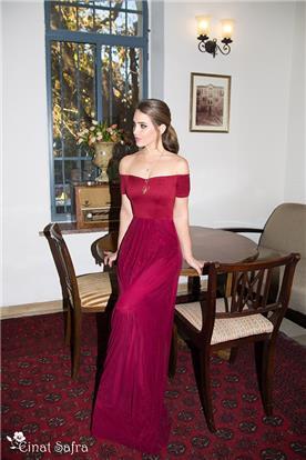 שמלת ערב בורדו צמודה