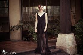 שמלת כלה דרמטית תחרה מקסי
