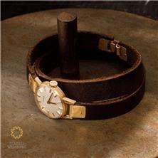 שעון זהב עם רצועת עור אמיתי
