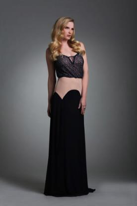 שמלת ערב בגווני בז ושחור