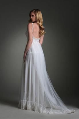 שמלת כלה שיפון רומנטית עם שובל