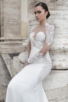 שמלת כלה שרוולי תחרה שקופה