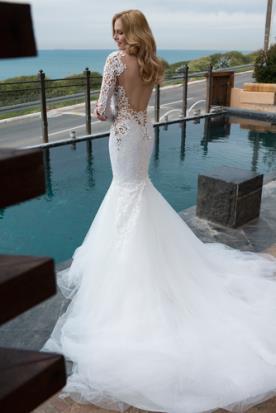 שמלת כלה אלגנטית גב מעוטר תחרה