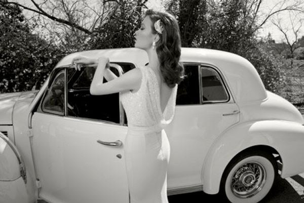 שמלת כלה גב פתוח רפוי מנצנץ
