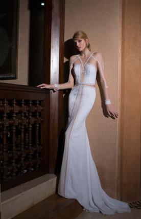 שמלת כלה קווים גאומטרים מחורזים