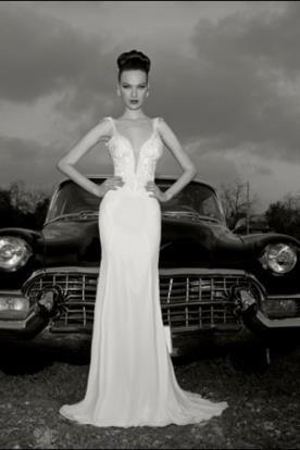 שמלת כלה אלגנטית מחשוף ארוכה
