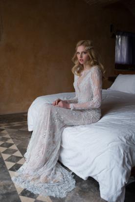 שמלת כלה שרוולי תחרה ארוכים