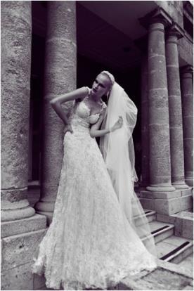 שמלת כלה תחרה עשירה עם הינומה