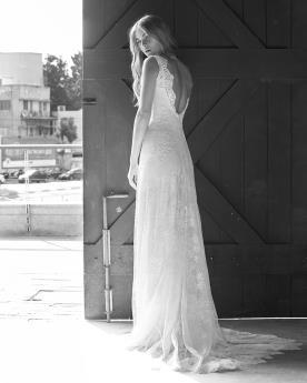 שמלת כלה שובל תחרה עדין