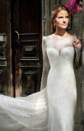 שמלת כלה נוצצת שרוולים ארוכים