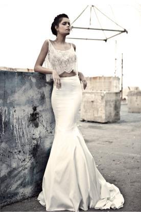 שמלת כלה קרופ תחרה שמנת