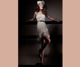 שמלת כלה מיני תחרה וחגורה