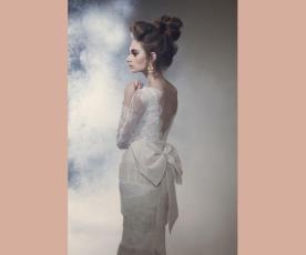 שמלת כלה פרנזים גב פתוח ופפיון