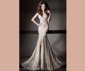 שמלת כלה עדינה תחרה מקסי
