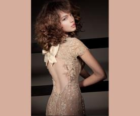 שמלת כלה שרוול גב פתוח ופפיון