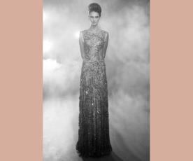 שמלת ערב מחורזת צוארון סגור