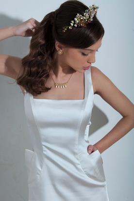 שמלת כלה מסאטן עם כיסים