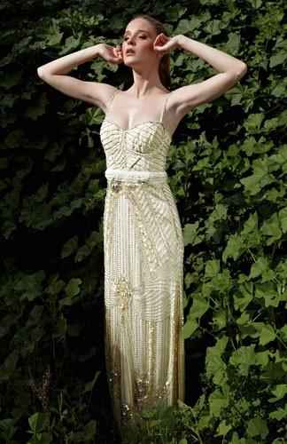 שמלת כלה מקסי קרם עם חרוזים
