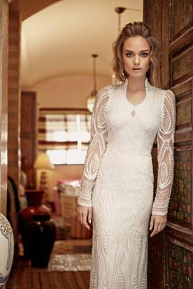 שמלת כלה שרוולים מעוטרי חרוזים