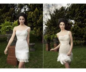 שמלת כלה מיני רומנטית עם פרנזים