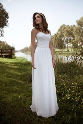 שמלת כלה סטרפלס משי ותחרה