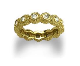 טבעת אירוסין זהב צהוב משובצת